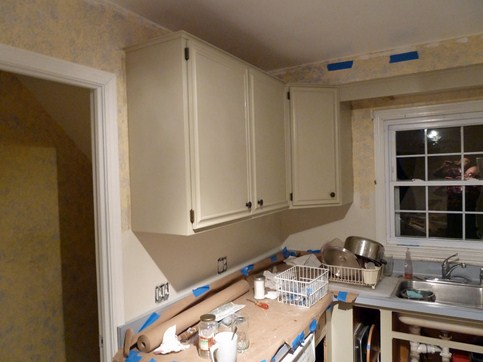 How To Redo Kitchen By Painting Cream Colored Cabinets With Glaze