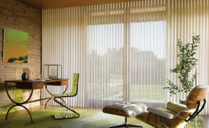 An image of vertical blinds in a lounge