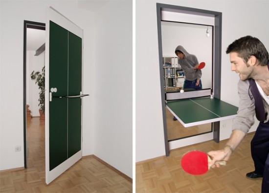 an image of a ping pong table that's doubles as a door