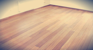a wooden floor about to be protected