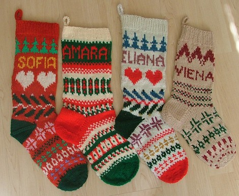 Hand-knit Christmas stocking []